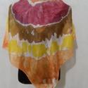 Batikolt selyemkendő , Ruha, divat, cipő, Kendő, sál, sapka, kesztyű, Női ruha, Batikolt hernyóselyem kendő. Mérete 90x90 cm.  Kezelése: Langyos, öbtlítőszeres vagy bioszapp..., Meska