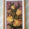 Sárga rózsa, Képzőművészet, Textil, Saját készítésű normál gobelin öltéssel van varrva kézzel előfestett fehér kanavára 1800..., Meska