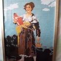 Lány korsóval, Képzőművészet, Textil, Saját készítésű normál gobelin öltéssel van varrva kézzel előfestett fehér kanavára 1920..., Meska