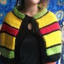 Rasta, gyapjú poncho, Ruha, divat, cipő, Mindenmás, Női ruha, Poncsó, 100% gyapjú, vastag fonalból kötöttem rasta színekben ezt a rövid ponchot, mely a hideg őszi ..., Meska