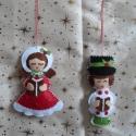 """Régi időket idéző """"éneklő pár"""" karácsonyfadísz!, Dekoráció, Ünnepi dekoráció, Karácsonyi, adventi apróságok, Karácsonyfadísz, Hímzés, Varrás, Szeretettel köszöntelek!  Nagyon mutatós, igazi nosztalgikus hangulatot teremtő díszeket készítette..., Meska"""