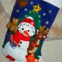 Egyedi 3 D-s hatású mikuláscsizma!, Dekoráció, Ünnepi dekoráció, Karácsonyi, adventi apróságok, Ajándékzsák, Hímzés, Varrás, Szeretettel köszöntelek!  Rengeteg öltéssel egyedi mikuláscsizmát készítettem! Anyaga filc, az álla..., Meska