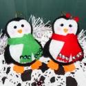 Pingvinpár karácsonyfadísz, Dekoráció, Ünnepi dekoráció, Karácsonyi, adventi apróságok, Karácsonyfadísz, Varrás, Szeretettel köszöntelek!  Kedves pingvines karácsonyfadíszeket készítettem! Filcből készültek, flit..., Meska