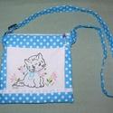 Hímzett cicás kistáska, Táska, Baba-mama-gyerek, Válltáska, oldaltáska, Szeretettel köszöntelek!  Egyedi kis táskát készítettem kék-fehér pöttyös vászonból. Elején általam ..., Meska