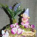 Tavasztündéres világítós asztaldísz, Dekoráció, Húsvéti díszek, Otthon, lakberendezés, Dísz, Mindenmás, Szeretettel köszöntelek!  Tavasztündéres világítós asztaldíszt készítettem. Szárazvirágos kosárkába..., Meska