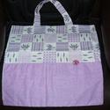 Textil bevásárlótáska! Levendulás, Táska, Szatyor, Szeretettel köszöntelek!  Levendulamintás táskát készítettem vászon anyagból! Béleletlen, erős varrá..., Meska