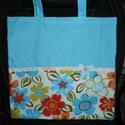 Textil bevásárlótáska! Kék-virágos, Táska, Szatyor, Varrás, Szeretettel köszöntelek!  Kék-virágos bevásárlótáskát készítettem vászon anyagból! Béleletlen, erős..., Meska