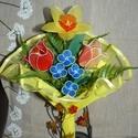 Tavaszi virágcsokor- harisnyavirág , Dekoráció, Szerelmeseknek, Ünnepi dekoráció, Dísz, Mindenmás, Virágkötés, Szeretettel köszöntelek!  Harisnyából készült tavaszi virágcsokor! Tartós, egyedi ajándék névnapra,..., Meska