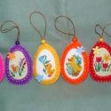 Hímzett filctojások, Dekoráció, Húsvéti díszek, Ünnepi dekoráció, Dísz, Varrás, Hímzés, Szeretettel köszöntelek!  Filcből készítettem húsvéti tojásokat keresztszemes hímzéssel! Méretük: 7..., Meska