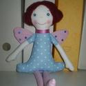 Pille Veronika baba, Dekoráció, Játék, Játékfigura, Plüssállat, rongyjáték, Egyedi, kézzel és géppel varrt lepke-lány. Arca hímzett, haja nemez, rögzített. Igazi játszótárs, de..., Meska