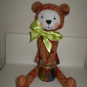 Borzas medve (barna), Baba-mama-gyerek, Játék, Játékfigura, Plüssállat, rongyjáték, Egyedi, kézzel és géppel varrt maci. Igazi hurcolhatós, alvó és játszótárs. Arca rávarrt, hímzett. 3..., Meska