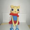 Ilka cica, öltöztethető, Baba-mama-gyerek, Játék, Játékfigura, Plüssállat, rongyjáték, Egyedi, kézzel és géppel varrt cica. Igazi hurcolható, játszó és alvótárs. Arca rávarrt, hímzett. Mi..., Meska