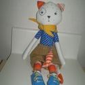 Soma cica halacskával, Baba-mama-gyerek, Játék, Játékfigura, Plüssállat, rongyjáték, Egyedi, kézzel és géppel varrt cica. Igazi hurcolhatós, játszó és alvótárs. Arca hímzett, minden ruh..., Meska