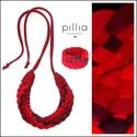 Piros árnyalatú MOSAIC textilékszer szett , Ékszer, Ékszerszett, Újrahasznosítható, rugalmas textilből készült a szett.  A nyakbavaló hosszúsága a megkötővel tetszől..., Meska