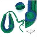 Kék-zöld BRAID textilékszer szett, Ékszer, Ékszerszett, A szett újrahasznosított termék rugalmas textilszálakból fonva, díszítve.  A nyaklánc hossza (kerüle..., Meska