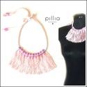 Rózsaszín  FRINGE nyaklánc, Ékszer, Nyaklánc, 100 %-ban újrahasznosítható alapanyagokból -  kimustrált táncosruha rojtja, kiselejtezett nyak..., Meska