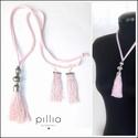 Rózsaszín TASSEL nyaklánc FRINGE fülbevalóval, Ékszer, Nyaklánc, Újrahasznosítható alapanyagokból készült: rózsaszín függönyrojtból a bojtos nyaklánc, ro..., Meska