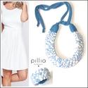 Kék-fehér-csíkos MOSAIC textilékszer szett, Ékszer, Ékszerszett, A szett újrahasznosítható, rugalmas textilből készült.  A nyaklánc hosszúsága a megkötővel tetszőleg..., Meska