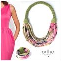 Zöld-rózsaszín FIBER  textilékszer szett, Ékszer, Ékszerszett, A karkötőből és nyakláncból álló szett újrahasznosítható, rugalmas, mintás textilből készült termék...., Meska