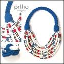 Kék-csíkos FIBER  textilékszer szett, Ékszer, Ékszerszett, A nyakláncból és karkötőből álló szett, újrahasznosítható, rugalmas textilből készült termék.  A beb..., Meska