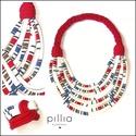 Piros-csíkos FIBER  textilékszer szett, Ékszer, Ékszerszett, A nyakláncból és karkötőből álló szett, újrahasznosítható, rugalmas textilből készült termék.  A beb..., Meska