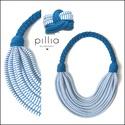 Kék-fehér/csíkos FIBER textilékszer szett, Ékszer, Ékszerszett, A nyaklánc-karkötőből álló szett újrahasznosítható, rugalmas textilből készült termék.  A nyaklánc h..., Meska