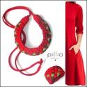 Piros-zöld MOSAIC textilékszer szett , Ékszer, Ékszerszett, Újrahasznosítható, rugalmas textilből készült a nyaklánc-karkötőből álló szett. A nyaklánc hosszúság..., Meska