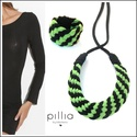 Zöld-fekete MOSAIC textilékszer szett , Ékszer, Ékszerszett, Újrahasznosítható, rugalmas textilből készült a nyaklánc- karkötőből álló szett.  A nyaklánc hosszús..., Meska