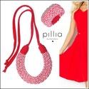 Piros-fehér-csíkos MOSAIC textilékszer szett, Ékszer, Ékszerszett, Ékszerkészítés, Újrahasznosított alapanyagból készült termékek, A szett újrahasznosítható, rugalmas textilből készült.  A nyaklánc hosszúsága a megkötővel tetszőle..., Meska