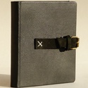 Botond  - fekete bőr notesz napló emlékkönyv jegyzetfüzet 16x16 cm - 245, Valódi bőr borítású notesz, görgős csattos ...