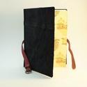 Kátya - notesz, napló, emlékkönyv, A4 - fekete velúr bőr 20x28 cm , Naptár, képeslap, album, Jegyzetfüzet, napló, Könyvkötés, Papírművészet, Valódi velúr bőr borítású notesz, csatos záródással, könyvjelzővel, mintás előzékpapírral. A belíve..., Meska