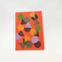 Nagy francia kockás füzet, kézzel nyomott pecsét geometrikus minta 18x25 piros iskolai füzet jegyzetfüzet moleskine F028, Könnyű, rugalmas univerzális füzet, kézzel ny...