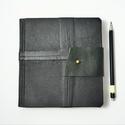Barton - notesz, napló, emlékkönyv - fekete bőr 16x16 cm  - 360, Naptár, képeslap, album, Jegyzetfüzet, napló, Valódi bőr borítású notesz, bőrgomb záródással, könyvjelzővel. A pöttyös előzékpapír különös kedvenc..., Meska