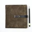 Kirill - notesz, napló, emlékkönyv - barna velúr bőr 16x16 cm  - 367, Valódi velúr bőr borítású notesz, bőrgomb z...