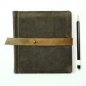Barbarella - notesz, napló, emlékkönyv - barna velúr bőr 16x16 cm  - 372, Valódi velúr bőr borítású notesz, bőrgomb z...