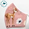Egyedi őzikés maszk - kiskamasz arcmaszk - prémium textil szájmaszk - egészségügyi szájmaszk - mosható szájmaszk, Egyedi, mintás, mosható, egészségügyi kiskama...