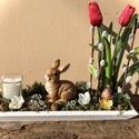 Nyuszis asztaldísz, Otthon & Lakás, Lakberendezés, Virágkötés, A tavaszt idézi ez az asztaldísz , ahol élethű hagymás tulipán és egy kerámia nyuszi is megtalálhat..., Meska