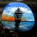 Hajó a tengeren, Dekoráció, Képzőművészet, Festmény, Akril, Festészet, Festett tárgyak, Hajó a tengeren c. festett kő  Kézi festéssel készült egyedi termék  ******************************..., Meska