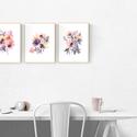 Falikép SZETT Virág trió - 3 db akvarell művészi nyomat A4-es méretben, Otthon, lakberendezés, Képzőművészet, Falikép, Falikép SZETT Virág trió - 3 db akvarell művészi nyomat A4-es méretben  A nyomatok eredetije akvarel..., Meska