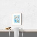 Akvarell fehér virágok és kék ég - art print (akvarell festményem alapján), Képzőművészet, Otthon, lakberendezés, Festmény, Akvarell, Akvarell fehér virágok  és kék ég - art print (akvarell festményem alapján)  Fehér virágok és kék ég..., Meska