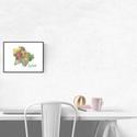 Art print Virágzó Budapest sziluett II. - A4-es méret (akvarell festményem alapján), Képzőművészet, Illusztráció, Virágzó Budapest sziluett II. -  akvarell  kép A4-es méret  (akvarell festményem alapján)  Színes és..., Meska