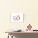 """Kék és rózsaszín virágzás akvarell virágok és levélkék - art print / virágos poszter A4 -es méret, Otthon, lakberendezés, Képzőművészet, Falikép, Kék és rózsaszín virágzás akvarell virágok és levélkék - art print / virágos poszter A4-es méret  """"K..., Meska"""