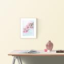 Falikép: Cseresznye virágzás akvarell virág és levélkék - art print / virágos poszter / kép, poszter A4es méret, Otthon, lakberendezés, Képzőművészet, Falikép, Falikép:Cseresznye virágzás akvarell virág és levélkék - art print / virágos poszter / kép, poszter ..., Meska