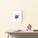 Falikép: Lila Peónia akvarell virág és levélkék - art print / virágos poszter / kép, poszter A4es méret, Otthon, lakberendezés, Képzőművészet, Falikép, Falikép: Lila Peónia akvarell virág és levélkék - art print / virágos poszter / kép, poszter A4es mé..., Meska