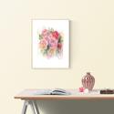 """Akvarell Nyári csokor - art print A3-as méret (akvarell festményem alapján), Képzőművészet, Otthon, lakberendezés, Festmény, Akvarell, Akvarell Nyári virágok és levélkék - art print A3-as méret (akvarell festményem alapján)   """"Nyári cs..., Meska"""