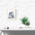 Akvarell Kék virágok - art print (akvarell festményem alapján), Képzőművészet, Otthon, lakberendezés, Festmény, Akvarell, Akvarell Kék virágok  - art print A4 méret (akvarell festményem alapján)  Kék virágok Méret: 21 x 29..., Meska