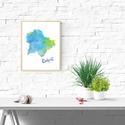 Art print Türkiz kék Budapest sziluett - A4-es méret (akvarell festményem alapján), Képzőművészet, Illusztráció, Türkiz Kék Budapest sziluett -  akvarell  kép A4-es méret  (akvarell festményem alapján)  Kék Budape..., Meska