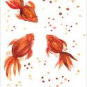 Aranyhalak akvarell - A5 art print (akvarell festményem alapján), Képzőművészet, Illusztráció, Festmény, Akvarell, Aranyhalak akvarell - A5 art print (akvarell festményem alapján)  Méret: 14,8 x21 cm (A5)  Három ara..., Meska