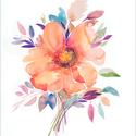 Őszi virágcsokor akvarell - A5 art print (akvarell festményem alapján), Képzőművészet, Illusztráció, Festmény, Akvarell, Őszi virágcsokor akvarell - A5 art print (akvarell festményem alapján)  Méret: 14,8 x21 cm (A5)  Szé..., Meska
