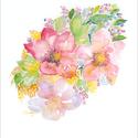 Virágos fantázia akvarell - A5 art print (akvarell festményem alapján), Képzőművészet, Illusztráció, Festmény, Akvarell, Virágos fantázia akvarell - A5 art print (akvarell festményem alapján)  Méret: 14,8 x21 cm (A5)  Szé..., Meska